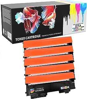 Prestige Cartridge 5 x Compatibles 117A con Chip (W2070A, W2071A, W2072A, W2073A) Cartuchos de Tóner Láser para Impresoras HP Color Laser 150a 150nw 150w MFP 178nw 178nwg 179fnw 179fwg