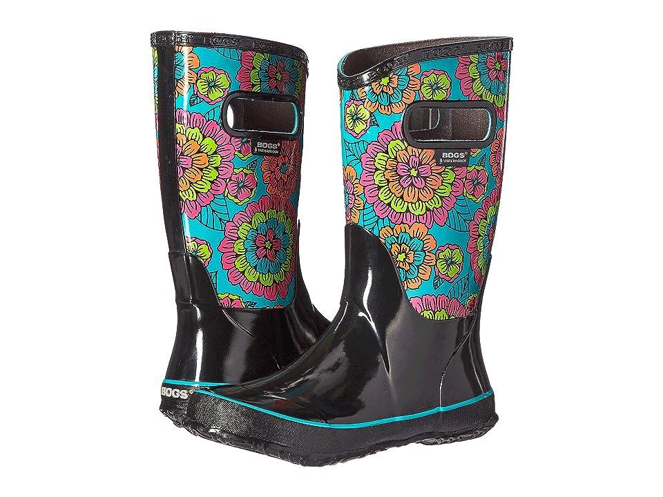 Bogs Kids Pansies Rain Boot (Toddler/Little Kid/Big Kid) (Black Multi) Girls Shoes