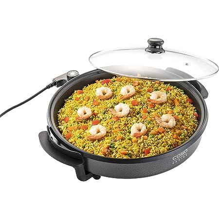CASO Poêle de fête professionnelle – Poêle électrique multifonction pour pizza, burgers, légumes, etc. jusqu'à env. 240 °C, fonction maintien au chaud