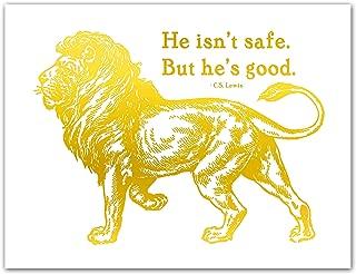 He isn't safe but he's good Aslan Lion Print CS Lewis Narnia Gold Foil Wall Art Print