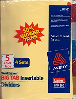 Avery BIG TAB Insertable Dividers (5 Color Tabs) [4 Sets]