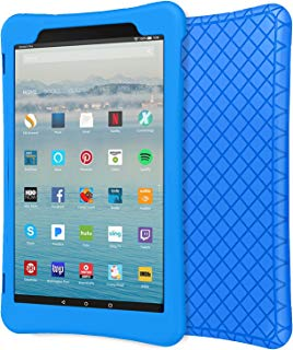 """MoKo Case for All-New Amazon Fire HD 10 Tablet (7th Generation, 2017 Release) - [Honey Comb Series] Light Weight Shockproof Soft Silicone Back Cover [Kids Friendly] for Fire HD 10.1"""" Tablet, Blue"""