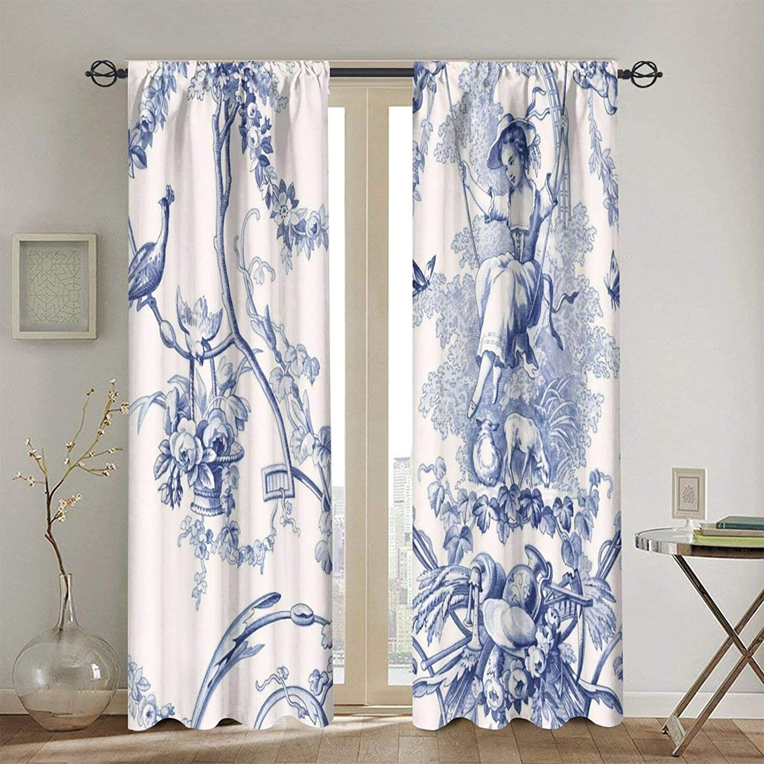 French Country Toile Print Blackout Curtains Today's only Curtain Fashion Panel