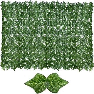 LOPADE Gräs väggpaneler artificiell integritet staket skärm gröna blad topiary häckväxt grönska vägg flerfunktionell balko...