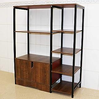 Aewio Kitchen Rack Home Office Utility Storage Shelf Multi Function Save Space Organizer Shelf (3 Layer + 5-Tier Oak-Color)