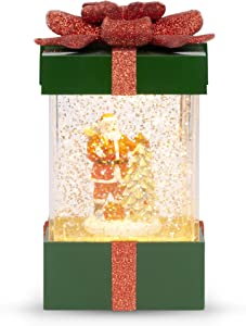 Best Choice Products Musical Christmas Pre-Lit Water Glitter Gift Box Snow Globe Holiday Decor w/Battery Power