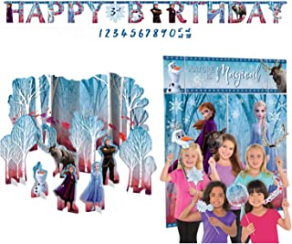Frozen 2 Party Decorations, Elsa, Anna, Olaf, Kristoff, Sven, Table Decoration Kit, Jumbo Add an Age Happy Birthday Banner, Scene Setter & Photo Props