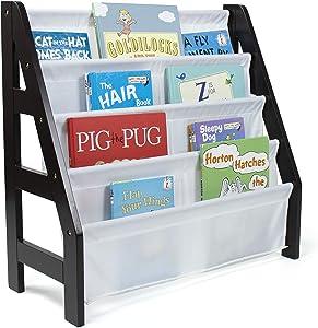 Humble Crew Kids Ladder Frame Bookshelf, 4 Tier Book Organizer, Espresso/White