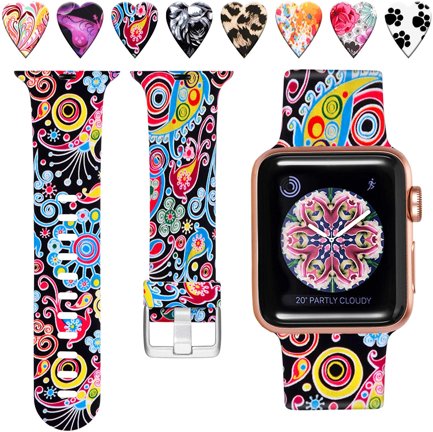 Laffav Compatible with Apple Watch Band 40mm 38mm 44mm 42mm for Women Men, Soft Silicone Sport Pattern Replacement Strap Compatible with iWatch SE Series 6 & Series 5 4 3 2 1