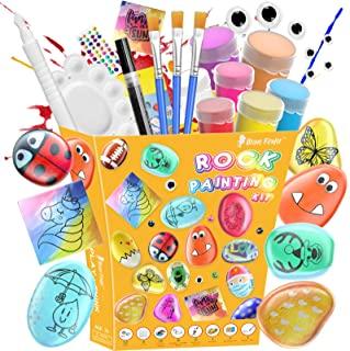 Rock Painting Kit - Kids Crafts and Arts Set Painting Kit, DIY Art Set Ideas for Kids Activities - Includes Rocks & Waterp...