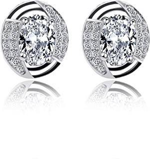 Uloveido 925 Sterling Silver Created Sapphire Birthstone Stud Drop Earrings for Women Girls, Platinum & Rose Gold Plated Earrings 1.18g (Gift Boxed) LR007