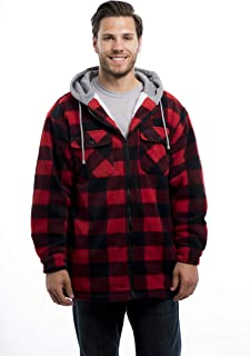 Men's Warm Sherpa Lined Hoodie Fleece Shirt Jacket, Classic Zip Up Buffalo Plaid (Regular and Big & Tall Sizes)