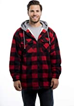 TrailCrest Men's Warm Sherpa Lined Hoodie Fleece Shirt Jacket, Classic Zip Up Buffalo Plaid (Regular and Big & Tall Sizes)