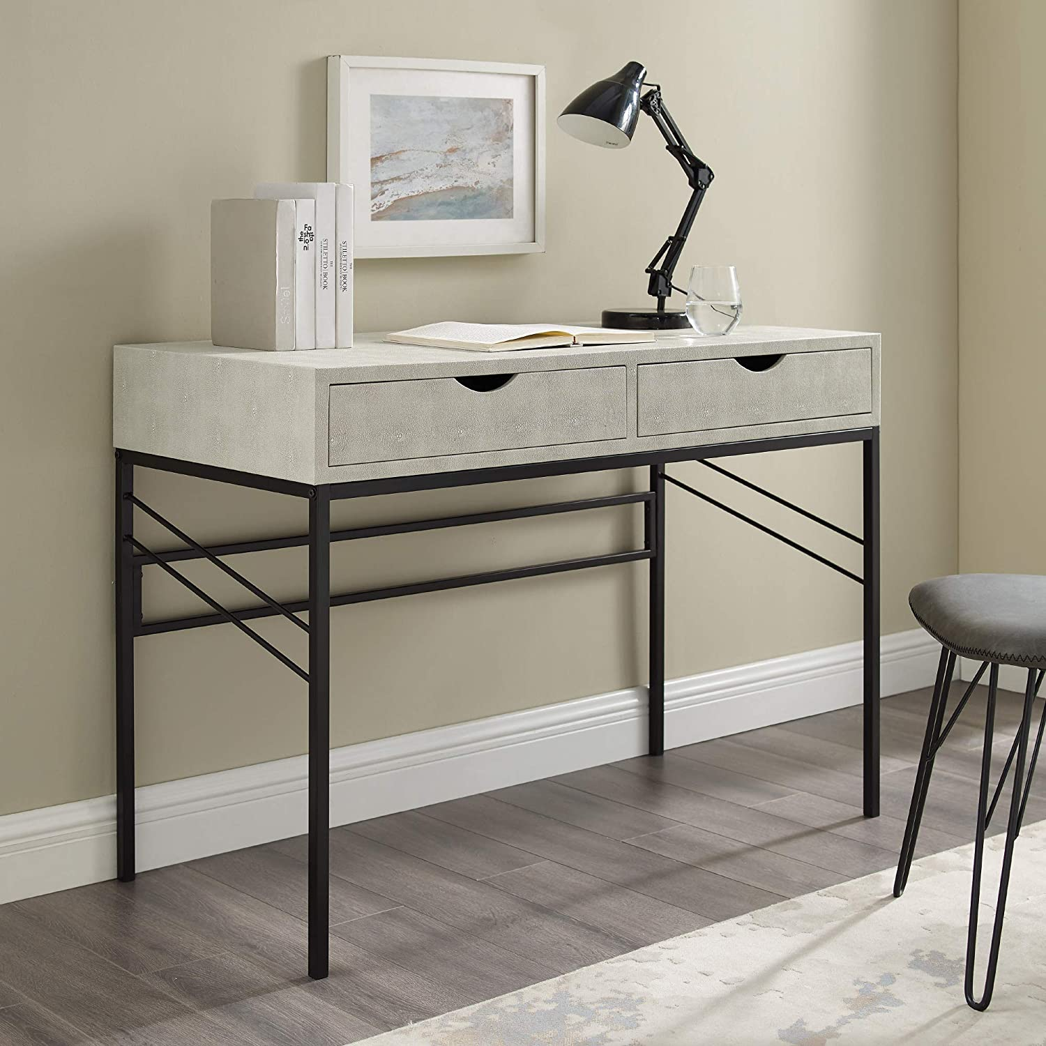 Walker Edison 2 Drawer Modern Selling rankings Popular brand in the world Wood Writing and Computer De Metal