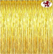 Golden Curtains for Party - Set of 2, 6 feet * 3 feet, Gold Fringes Curtains by Alpha Retail