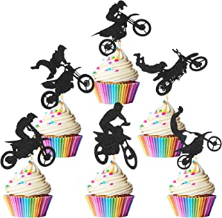 72 Pieces Dirt Bike Motocross Cupcake Toppers Silhouette for Dirt Bike Themed Birthday Party Cake Decorations Man's or Bo...