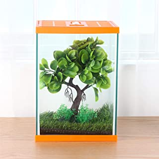 crapelles Reptile Tank, Insect GlassTerrarium Tall Box, Color Orange,for Butterfly Larvae Caterpillar Stick Insects Frog S...