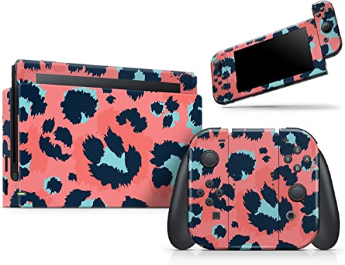 Leopard Coral and Teal V23 - Skin Decal Protective Scratch-Resistant Removable Vinyl Wrap Kit Compatible with The Nin...