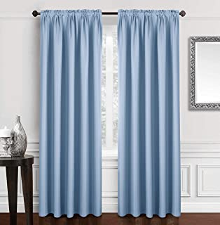 Dreaming Casa Solid Room Darkening Blackout Curtain for Bedroom 84 Inches Long Draperies Window Treatment 2 Panels Blue Rod Pocket 2(42