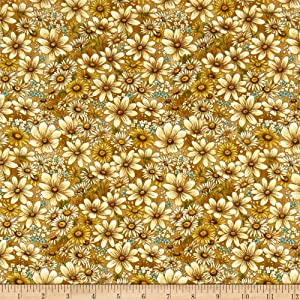 Fabri-Quilt Paintbrush Studio Bee Kind Flowers Fabric, Gold, Fabric By The Yard
