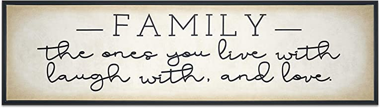 Homekor Family The Ones You Live with, Laugh with, and Love - Inspirational Quotes Hanging Wall Art Decor Signs with Motivational Saying - Framed Canvas Print 30 x 8
