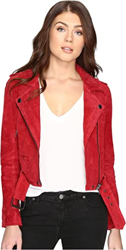 Blank NYC - Red Suede Moto Jacket in Red Moon