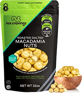 Freshly Roasted & Salted Macadamia Nuts (32oz - 2 Pound) Packed Fresh in Resealable Bag - Trail Mix Snack - Healthy Protei...
