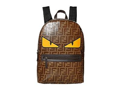 Fendi Kids All Over Logo Print Backpack with Monster Eyes (Brown Logo) Backpack Bags