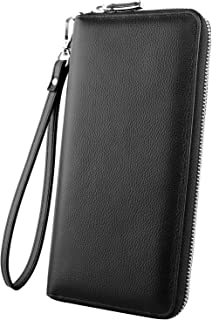 RFID Blocking Wallet Long Handbag Large Capacity Genuine Leather Purse Clutches Bifold Multi Card Holder Organizer Phone Bag for Men Women