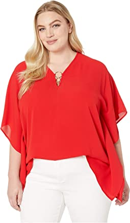 Plus Size Ring Flutter Top