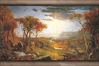 Puernash Autumn On The Hudson River 1860, Jasper Francis Cropsey 12 X 16 in. Tin Sign Poster for Home Bathroom and Cafe Bar Pub, Wall Deco