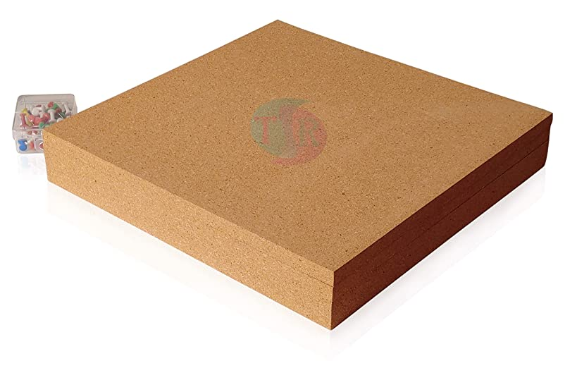 Extra-Thick Cork Board Tiles Without Adhesive, 4 Pack, 12x12x0.5 Inch, High-Density Corkboard Squares, Ideal for Creating Bulletin Boards, Hanging Pictures and Messages, Bonus - Box of 50 Push Pins
