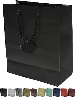 Novel Box® Black Matte Laminated Euro Tote Paper Gift Bag Bundle 8