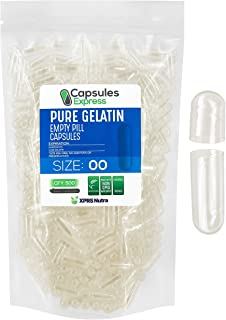 XPRS Nutra Size 00 Empty Capsules - Clear Empty Gelatin Capsules - Capsules Express Empty Pill Capsules - DIY Capsule Fill...