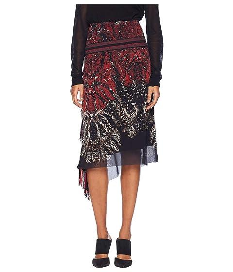 FUZZI Paisley Finge Skirt