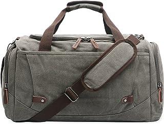 Oflamn Große Vintage Reisetasche Weekender Tasche Sporttasche Handgepäck aus Canvas für Damen Herren 3.0 grau