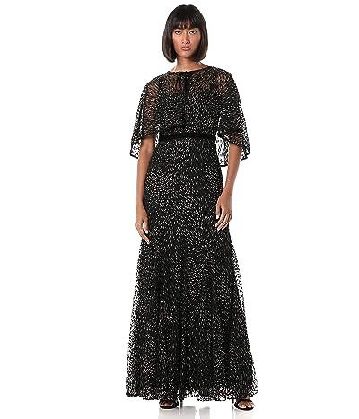 Adrianna Papell Glitter Velvet Gown Set 2pcs
