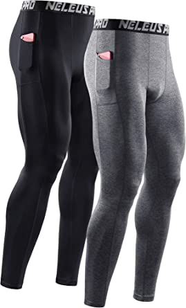 Neleus Men's Dry Fit Compression Baselayer Pants Running Tights Leggings with Phone Pocket