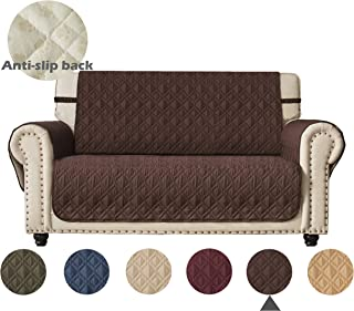 Ameritex Loveseat Cover Water-Resistant Quilted Furniture Protector with Back Nonslip Paws Slipcover for Dogs, Kids, Pets Loveseat Slipcover Stay in Place for Leather (46, Chocolate)