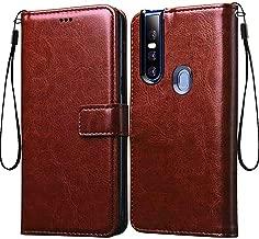 Frazil Vintage Leather Flip Cover Case for Vivo V15 | Inner TPU | Foldable Stand | Wallet Card Slots - Chestnut Brown