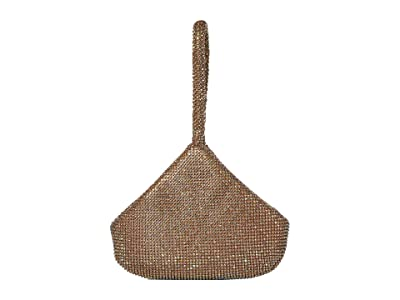 Jessica McClintock Staci Rhinestone Mesh Pouch Wristlet (Iridescent Light Gold) Wristlet Handbags