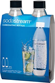 SodaStream Slim Carbonating Bottles Twin Pack, Black, 1-Liter, (1741220010)