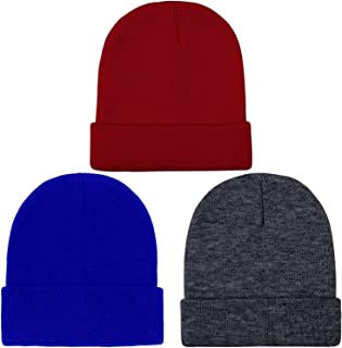 Cooraby Kid's Winter Beanies Knitted Warm Cold Weather Beanie Hats Boys Girls Caps