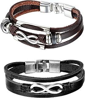 2 braccialetti multistrato, unisex, fantasia, per coppia, in lega metallica e pelle, simbolo dell'infinito, con sacchetto ...