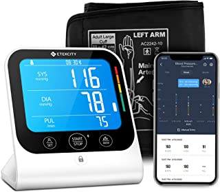 Etekcity Blood Pressure Monitor Digital Bluetooth Automatic Upper Arm Cuff With Large Vertical Readings, Unlimited Memorie...