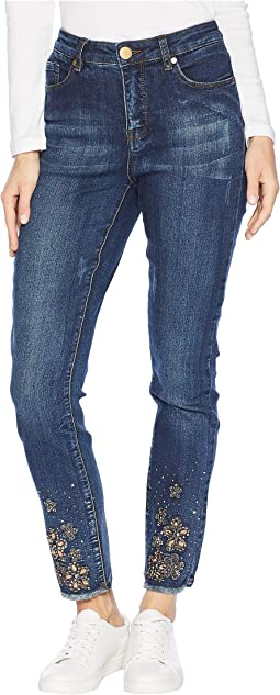 Five-Pocket Jeggings with Bejeweled Hem