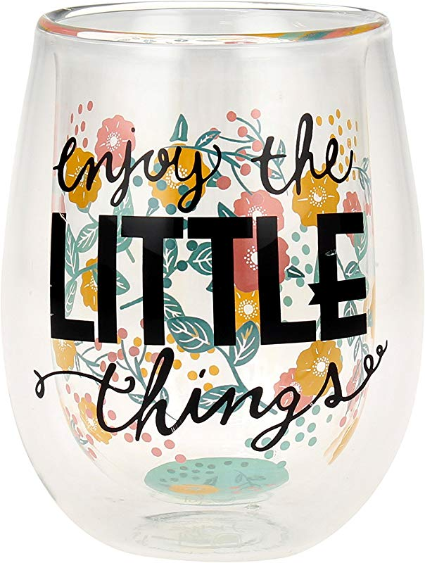 Top Shelf Double Wall Stemless Enjoy The Little Things Inspirational Wine Glass Multicolor Red Or White Wine Unique Fun Gift Ideas For Men Women Friends And Family
