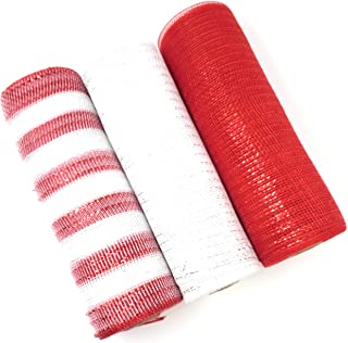 Candy Cane Christmas 10 inch, 10 Yard Deluxe Decorative Metallic Deco Mesh Rolls (White, Red, Red and White)