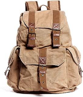 Sumuzhe Men's Canvas Casual Backpack Fashion Black Casual Shopping Travel Large Capacity Bag (Color : Khaki, Size : S)