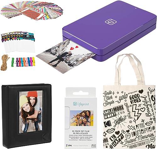 2021 Lifeprint sale 2x3 lowest Portable Photo and Video Printer (Purple) Photo Frames Kit outlet sale